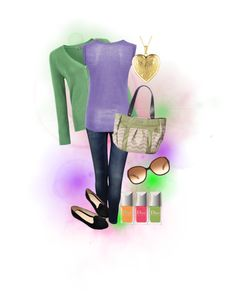 "Love the green/lavendar combo plus that's a Miche bag shown!  ""march green"" by juliarup on Polyvore"