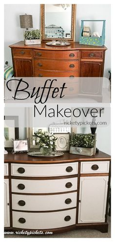Guest Room Reveal Part 2 - Buffet Makeover - Rickety Pickets Diy Furniture Redo, Repurposed Furniture, Furniture Projects, Home Furniture, Automotive Furniture, Automotive Decor, Furniture Design, Handmade Furniture, Antique Furniture