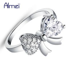 Almei 15% Off Bow Engagement Ring for Women CZ Zircon Jewelry with Silver Color White Crystal Rings with Bowknot Flower J612