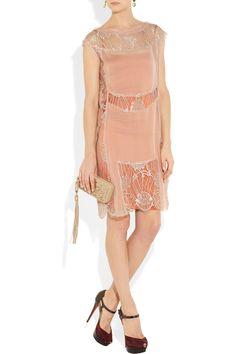 Alberta Ferretti|Lace and silk-georgette dress