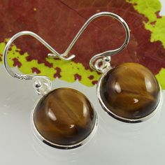 Girl's Fashion Earrings Real TIGER'S EYE Gemstones 925 Sterling Silver Wholesale #Unbranded #DropDangle