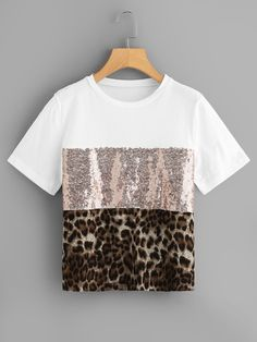 Summer Women Patchwork Leopard Print Sequin Sleeve Tee Casual Top ONeck TShirts 30 Color black Size S Crop Top And Shorts, Crop Tops, Mode Outfits, Fashion Outfits, Womens Fashion, Sequin Fabric, T Shirts For Women, Clothes For Women, Blouse Styles