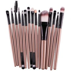 Creazy® 15 pcs/Sets Eye Shadow Foundation Eyebrow Lip Brush Makeup Brushes Tool (Gold) ** Click image to review more details. (Note:Amazon affiliate link)