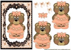 Cute Bear In Peach On Lace Background, just cut out the pieces and layer them