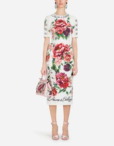 697a8abbeaa Sites-dolcegabbana-Site. Peony PrintSilk DressDress To ImpressBlack ...