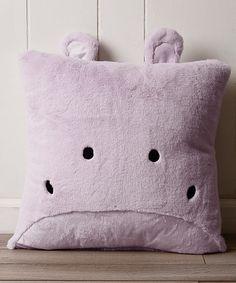 Lavender Hippo Plush Faux Fur Pillow 5850d2e80b7