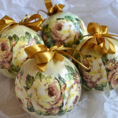 Vintage Roses Christmas Baubles