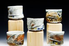 Mark Chuck Trout Tea bowls - Porcelain, Hand built, Wood Fired to Cone 13,  Fish Art, Conservationist, Nautical, River, Stream, Popular, Entertainment, modern, Nature,Wildlife Art, Fisherman,Brown Trout, Chawan, Fish Tail, Ceramics, Cup, Pottery, Yellow, Red, Black, Orange, Green,  Blue, Beverage, Tea, Wine
