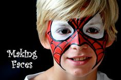 Spiderman face paint design - great design that leaves mouth area free for eating and drinking! Girl Face Painting, Face Painting Designs, Body Painting, Face Paintings, Spiderman Makeup, Spiderman Face, Spider Man Face Paint, Spiderman Images, Christmas Face Painting