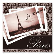 Postcards from Paris II Bridal Shower Invitation
