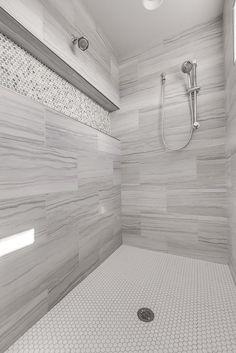 Bathroom Tile Designs, Bathroom Design Luxury, Bathroom Design Small, Modern Bathroom, Small Full Bathroom, Master Bathroom Shower, Gray Shower Tile, Shower Niche, Shower Remodel