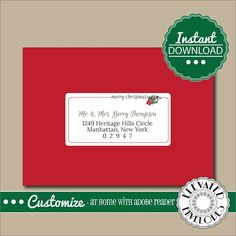 Editable Address Label TemplateEnvelope AddressingChristmas