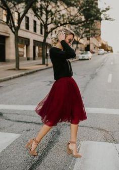 Burgundy Grenadine High Waisted Tutu Fluffy Tulle Party Midi Skirt <br> Available Sizes : S;XL Bust(cm) : Length(cm) : Waist(cm) : Type : Loose Material : Dacron Pattern : Plain Length Style : Below Knee Decoration : Grenadine Color : Red Red Tulle Skirt, Mesh Skirt, Red Skirts, Chiffon Skirt, Tulle Skirts, Tulle Tutu, Pleated Skirt, Midi Rock Outfit, Midi Skirt Outfit