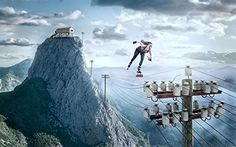 Online Skater (Print - 10x15 in.). Online Skater by Uli Staiger captures a breathtaking landscape divided by power lines. This piece enters the world of the surreal through the girl, roller skating on the power lines with speed and determination.