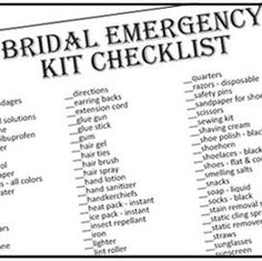 The Emergency kit for the Bride
