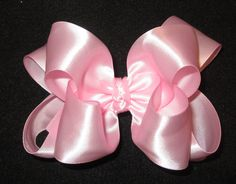 Light Pink Satin Glamor Double Layer Hair Bow for Baby Toddler and Little Girls Photos