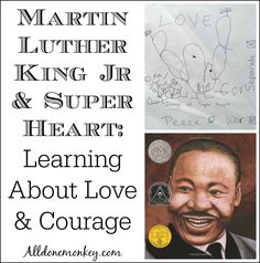 Studying the life of Martin Luther King Jr to learn about love and courage - and a child's response, the creation of the superhero Super Heart! Teaching Tools, Teaching Kids, Southern Christian Leadership Conference, Learning Activities, Winter Activities, History For Kids, King Jr, Emotional Intelligence, Martin Luther King Day