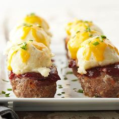 Super chic dinner party idea - meat loaf muffins topped with scoop of mash & melted cheese