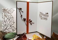 Grateful Maple Leaves - Card interior & envelope (on left) - Alcohol ink painted foil & die cut branch. Envelope; heat embossed leaves in green and brown. Sentiment; heat embossed in brown