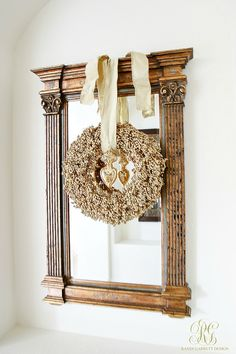 christmas home tour mirror with gold christmas wreath