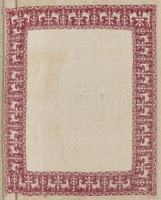 Embroidered towel border        Italian, 16th–17th century     Dimensions      Overall: 63.9 x 49 cm (25 3/16 x 19 5/16 in.)  Medium or Technique      Linen and silk; embroidery