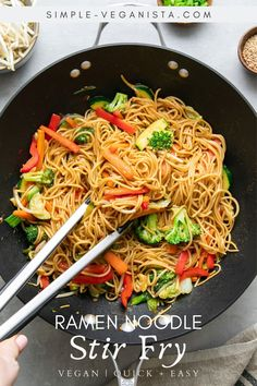 Veggie filled Ramen Noodle Stir Fry recipe is a quick and easy recipe perfect for those who want a hearty and healthy noodle dish in under 30 minutes! #wfpb #stirfry #healthyrecipes #veganrecipes #plantbased Ramen Noodle Recipes, Ramen Recipes, Stir Fry Recipes, Asian Recipes, Whole Food Recipes, Vegetarian Recipes, Healthy Recipes, Healthy Habits, Keto Recipes