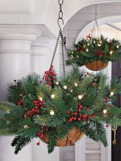 Pretty sure I can make this for cheaper but holy fabulous idea!    Battery Powered Evergreen Hanging Basket - Lighted Pine Basket
