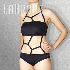 Honeycomb Motif Black Swimsuit by LaBronz