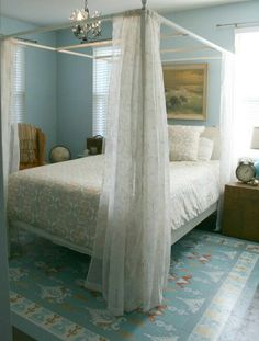 ●Timeless Elegance - Instantly fell in love with this elegant bedroom over at DIY Show Off. Everything from the ornate chandelier to the pastel carpeting to the quilted armchairs creates a classic look that will work for years to come.