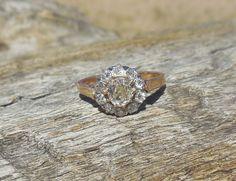 Vintage Antique 1.35ct Old Mine Cut Diamond Unique Engagement Ring Art Deco Victorian 18k Yellow Rose Gold Diamond Halo Ceritified by DiamondAddiction on Etsy