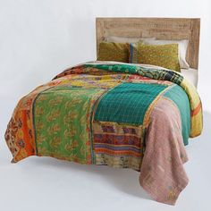 Vintage Quilt Indian Handmade Organic Cotton Bedspread Embroidered Blanket Throw Price Remains Stable Home & Garden