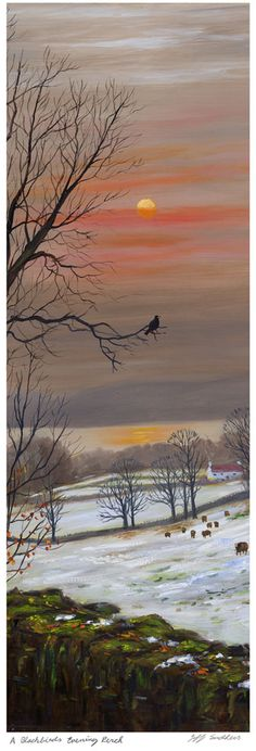 A Blackbirds Evening Perch. Print from an oil painting by Jeff Sudders.  Available from the Cookhouse Gallery