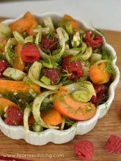 Raspberry, Apricot, Fennel, and Feta Salad http://fearlessdining.com #glutenfree #saladrecipe