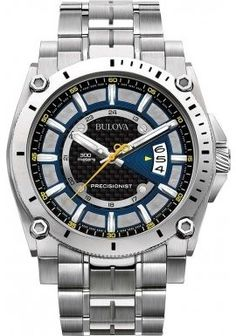 Bulova-Precisionist-Mens-Quartz-Watch-with-Blue-Dial-Chronograph-Display-and-Silver-Stainless-Steel-Bracelet-96G131-0