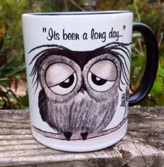 It's been a long day - says Mr. Owl - super cute black and white 11-ounce owl muggy  on Etsy, $17.00