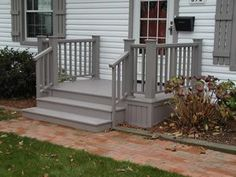 Best Small deck designs ideas that you can make at home! small deck ideas on a budget, small deck ideas decorating, small deck ideas porch design, small deck ideas with stairs Front Porch Deck, Porch Stairs, Small Front Porches, Front Porch Design, Side Porch, Decks And Porches, Deck Design, Porch Designs, Porch Entry