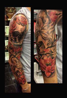 Japanese, skull sleeve tattoo Done by Angelo @ Rising Dragon Tattoo Fourways, Johannesburg. joburgink@gmail.com, 0114677350