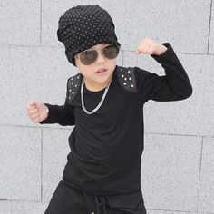 2017 Spring Autumn New Fashion Boy Kids Top o-neck tee Long-sleeve Rivet Black Faux Leather Patchwork Cotton T-shirt Hip Hop