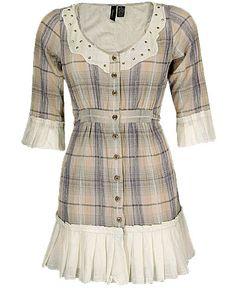 BKE Boutique Mesh Trim Plaid Shirt SALE $41.60 was $52.00 Item #492503411JT697  Ruffle trim tie back plaid shirt  Stud accents
