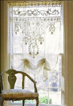 Lace, lace, lace... LOVE it! These lace curtains can be found at: emoltofashion.tumblr.com