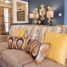 Transitional Blue Living Room With Ikat Pillows