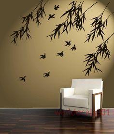 Vinyl Wall Decal Wall Sticker Art - birds with bamboo. $42.00, via Etsy.