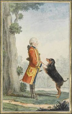 Le comte de Barbancon and his dog, 1763 by Louis Caroggis Carmontelle (1717-1806)