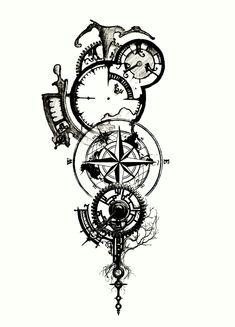 Clockwork tattoo- I like the elements of this one Forarm Tattoos, Body Art Tattoos, Sleeve Tattoos, Tattoo Thigh, Wrist Tattoo, Tatoos, Tattoo Sketches, Tattoo Drawings, Clock Drawings