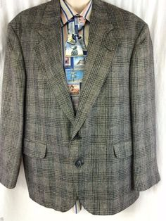 Haggar Clothing Co. Sport Coat City Casuals 42S Windowpane Wool Silk 2 Button #HaggarClothing #TwoButton