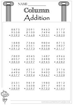 3 free Four Digit Column Addition 3 addends worksheets to use at home or in school, excellent for building confidence in addition and writing down the correct numbers. Four Digit Column Addition … Place Value Worksheets, Spelling Worksheets, Free Kindergarten Worksheets, Worksheets For Kids, Math Class, Maths, Math For Kids, Elementary Schools, Writing