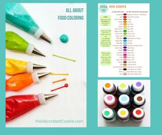 all about FOOD COLORING with printable color mixing chart, tips on what colors to buy and  where to buy and how to use.