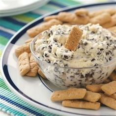 Chocolate Chip Dip Recipe -Is there a kid alive (or a kid at heart) who wouldn't gobble up this creamy dip for graham crackers? It beats dunking them in milk, hands down! You can also try it with apple wedges. —Heather Koenig, Prairie du Chien, Wisconsin