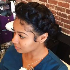 American and African Hair Braiding : Halo braid - Beauty Haircut Natural Braided Hairstyles, Weave Hairstyles, Pretty Hairstyles, Girl Hairstyles, Braided Updo, Protective Hairstyles, Hairstyle Ideas, Halo Hairstyle, Wedding Hairstyles