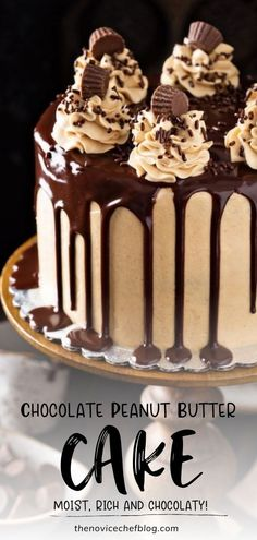 Extra moist and rich three-layer chocolate cake with creamy peanut butter frosting and a sweet chocolate glaze on top! This homemade Chocolate Peanut Butter Cake will be loved by the family. Save this easy to make dessert recipe! Best Cake Recipes, Cupcake Recipes, Sweet Recipes, Dessert Recipes, Chocolate Glaze, Chocolate Peanut Butter, Chocolate Desserts, Peanut Butter Frosting, Peanut Butter Recipes